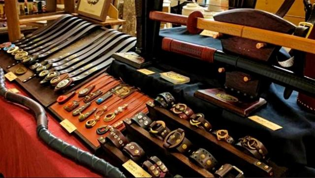 Photograph of a leather stall
